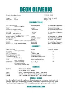 Actor Resume Template - Sample Musical theatre Resume Inspirationa theatre Resume Example