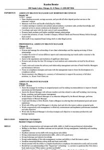Assistant Manager Resume Template - assistant Branch Manager Resume Samples