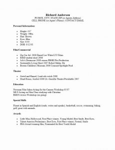 Beginner Actor Resume Template - Resume Resume Letters theater Template for First Time Job Seekers
