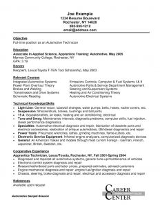 Car Mechanic Apprenticeship Resume - 35 Fresh Maintenance Technician Resume