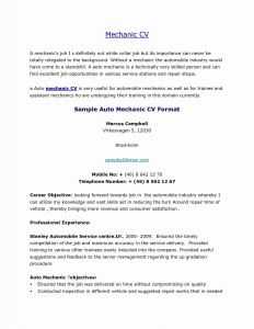 Car Mechanic Career Resume - format for A Resume Fresh Sample Resume for Automotive Mechanic