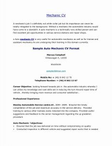 Car Mechanic Cv Sample Resume - Resume or Cv format Popular Free Sample Resumes Unique Sample Resume