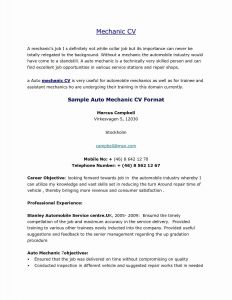 Car Mechanic Training Resume - Write Cv Resume Save Elegant Cv Resume Shqip Save Sample A Resume