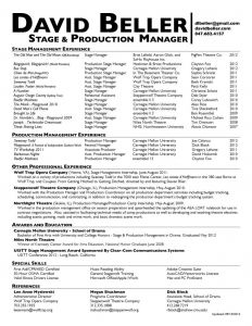 Cmu Resume Template - Stage Manager Resume Fresh Stage Manager Resume Template
