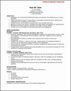 Cna Resume Template Microsoft Word - Cna Resume No Experience New Cna Resume Examples Resume Examples