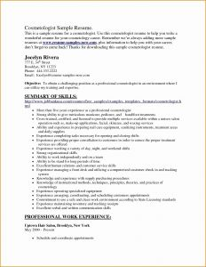 Cosmetologist Resume Template - Cosmetologist Resume Fresh Resume Templates for Cosmetology Fresh