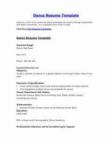 Dance Resume Template - Resume Template Inspirational Beginner Resume Templates Free