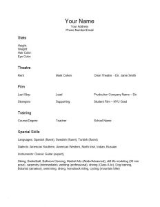 Entertainment Resume Template - Child Actor Resume Inspirational Acting Resume Sample for Beginners