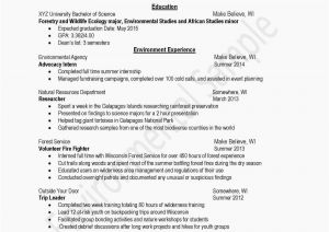 Forestry Resume - √ Student Resume Templates Free and Best Examples Resumes Ecologist
