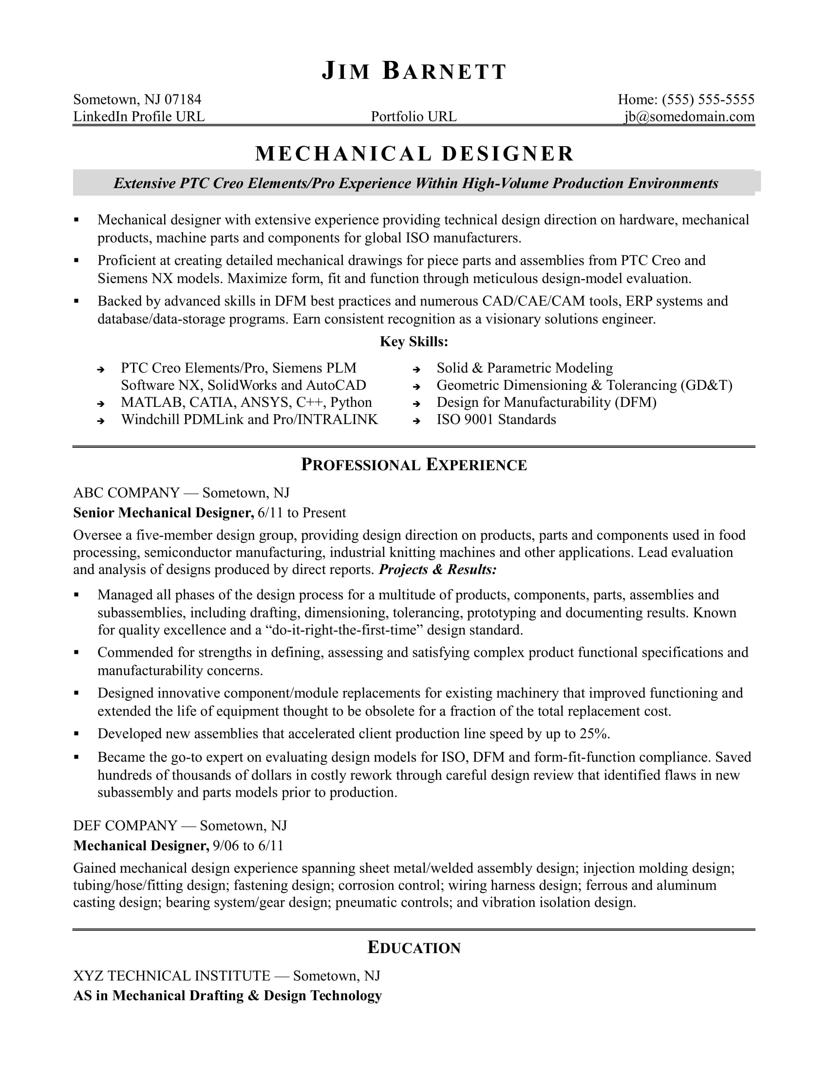 hardware design engineer resume example-Sample resume for an experienced mechanical designer 7-q