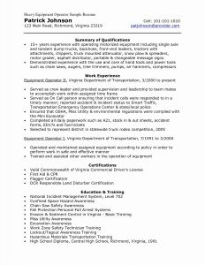 Heavy Equipment Operator Resume - Heavy Equipment Operator Resume Luxury Heavy Equipment Operator