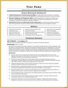 Hr Manager Resume Template - Sample Hr Generalist Resume