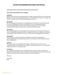 Letter Of Recommendation Resume Template - Resume Template for Letter Re Mendation Samples