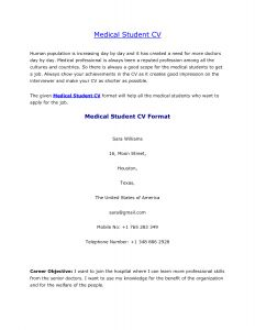 Med School Resume Template - Medical Student Cv Sample Resume Template Pinterest
