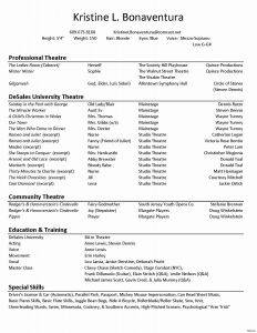 Musical theatre Resume Template - Technical theatre Resume Fresh theatre Resume Template Artistic