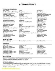 Musical theatre Resume Template - 20 Musical theatre Resume Template