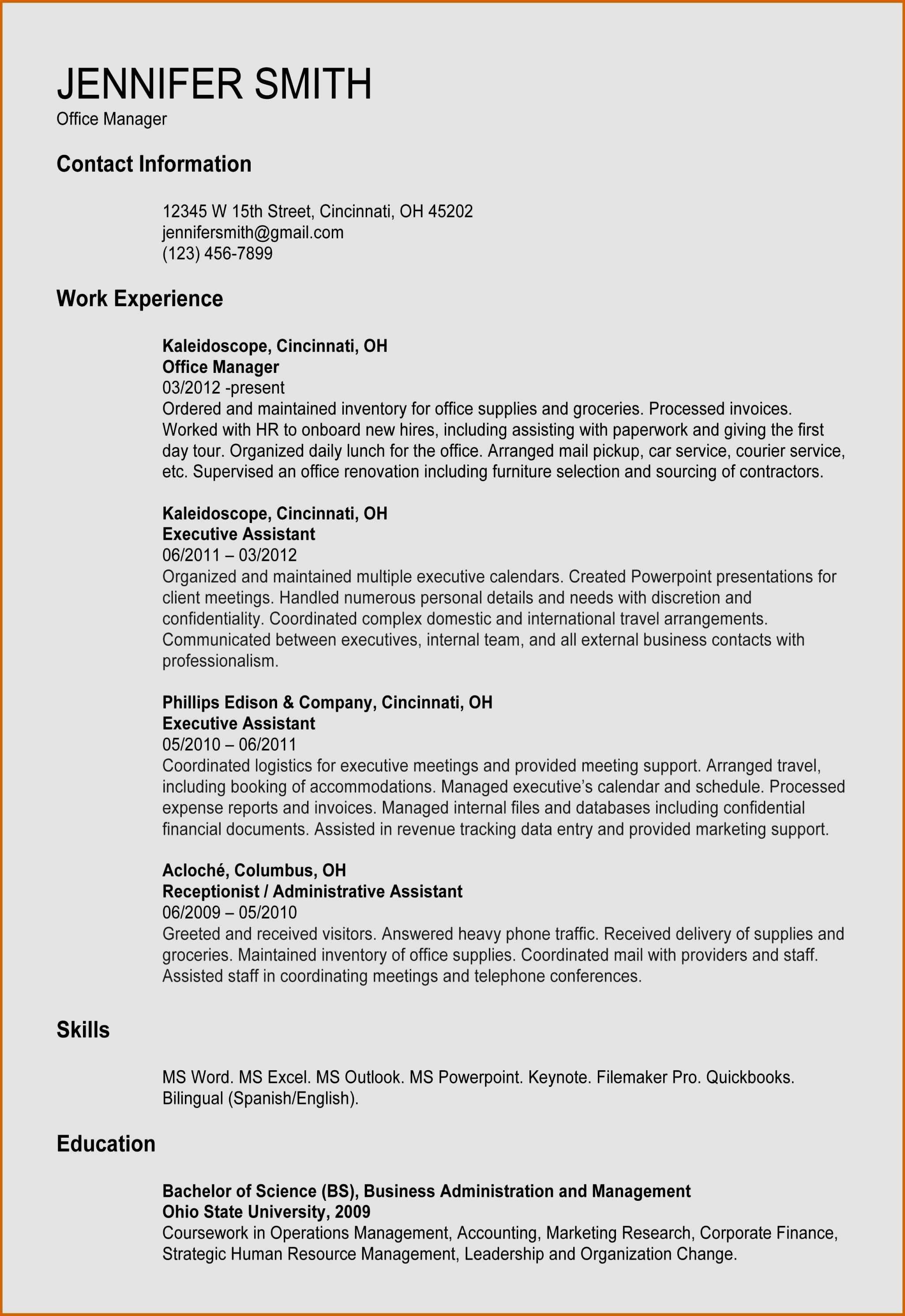 office manager resume template free example-Examples Cover Letter for Resume Beautiful Administrative assistant Resume Template Od Specialist Cover Letter 17-k