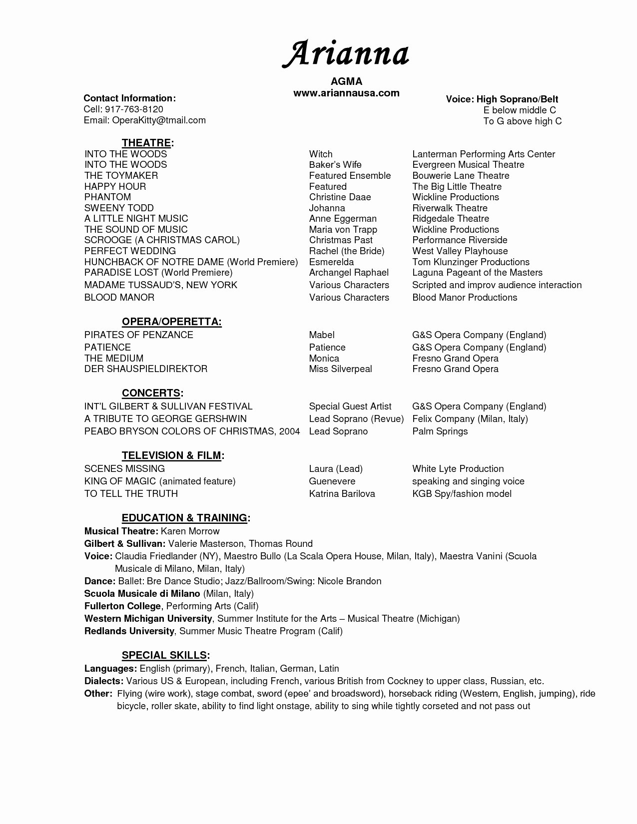 opera resume template Collection-Artistic Resume Template Save Musicians Resume Template Save Musical Theatre Resume Template 19-t