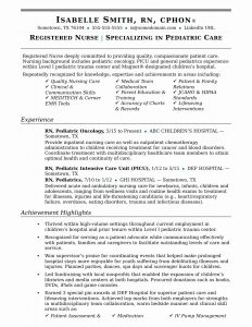 Pediatric Nurse Resume - Sample Registered Nurse Resume Luxury Elegant New Nurse Resume