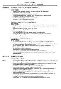 Professor Resume - assistant associate & Professor Resume Samples