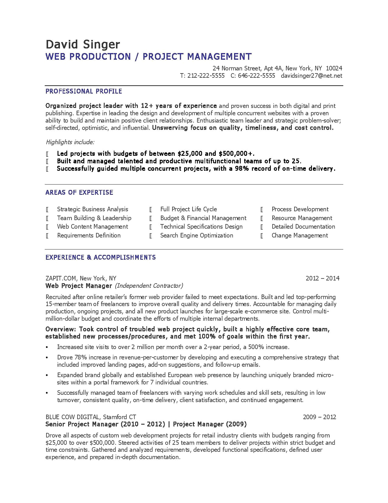 project manager resume example-Related Post program manager resume sample concerning 1-n