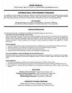 Purchasing Manager Resume Template - Resume format for Supply Chain Executive New 12 Awesome Sample