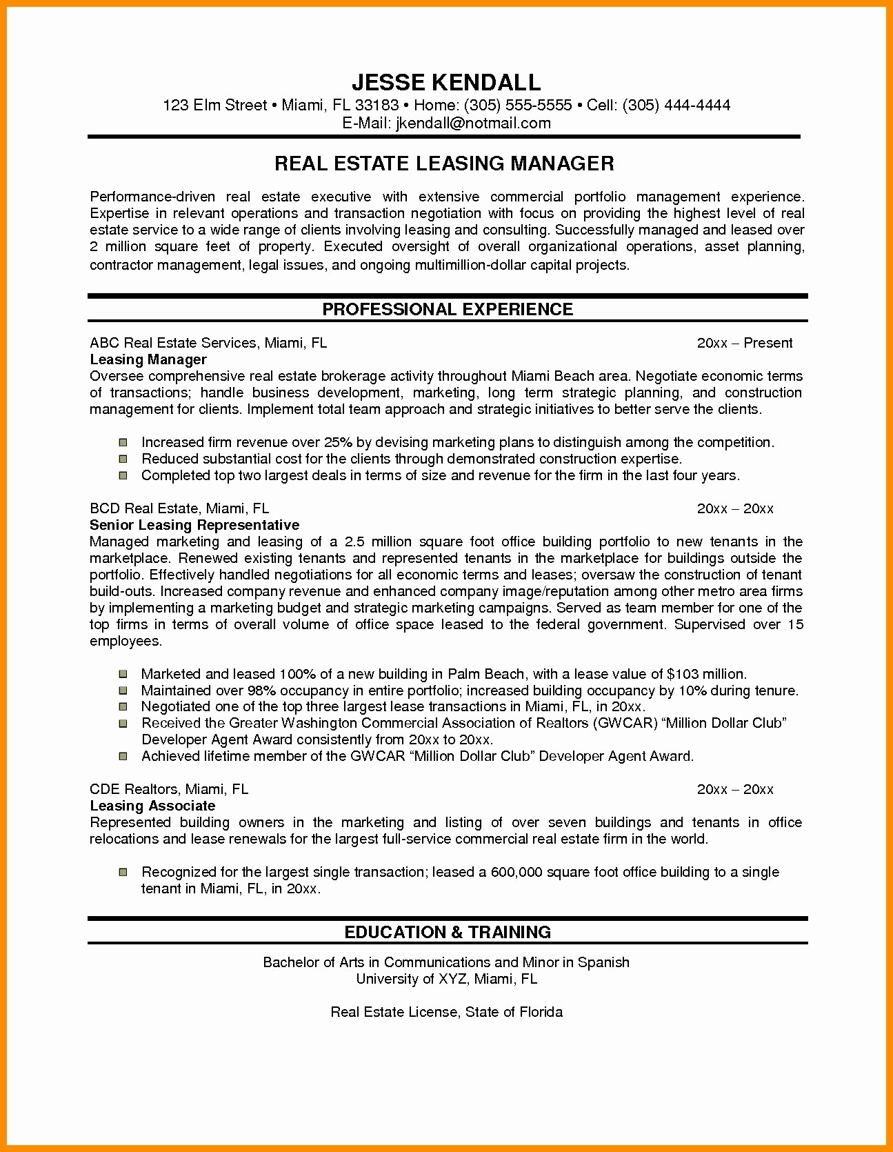 real estate resume template Collection-Management Cover Letter New Sample Resume For Property Manager Bsw Resume 0d Property Management 19-p