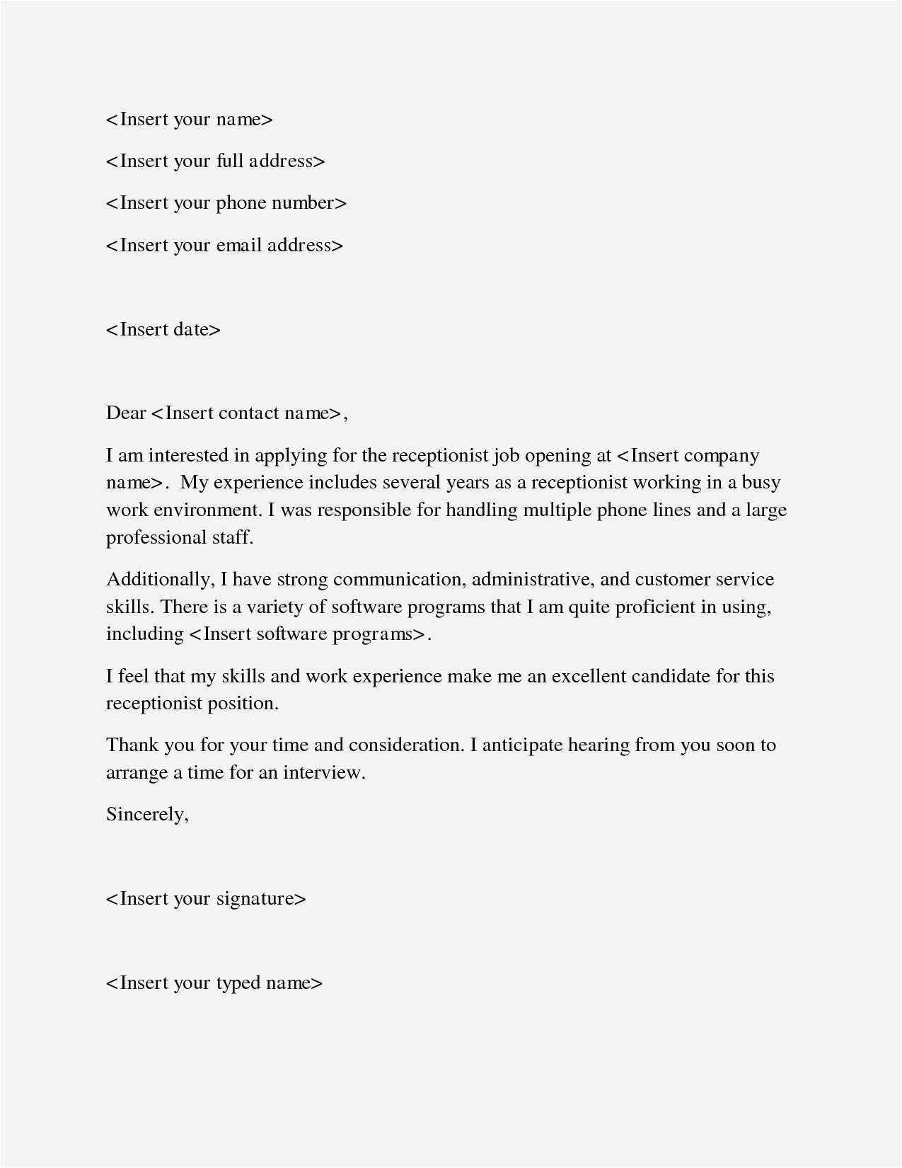 receptionist resume template free Collection-Simple Resume Cover Lette Best Sample Email Cover Letter Sample Job Fer Letter Template Us Copy 20-h