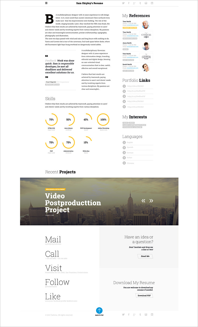 12 responsive resume template examples