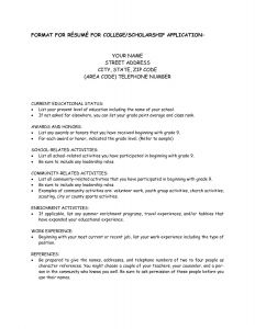 Resume Template for Scholarships - Scholarship Resume Examples solab Rural