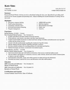 Resume Template for social Worker - Sample social Work Resume Best social Worker Resume Sample Lovely