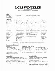 Resume Template Purdue - Musical theatre Resume Template