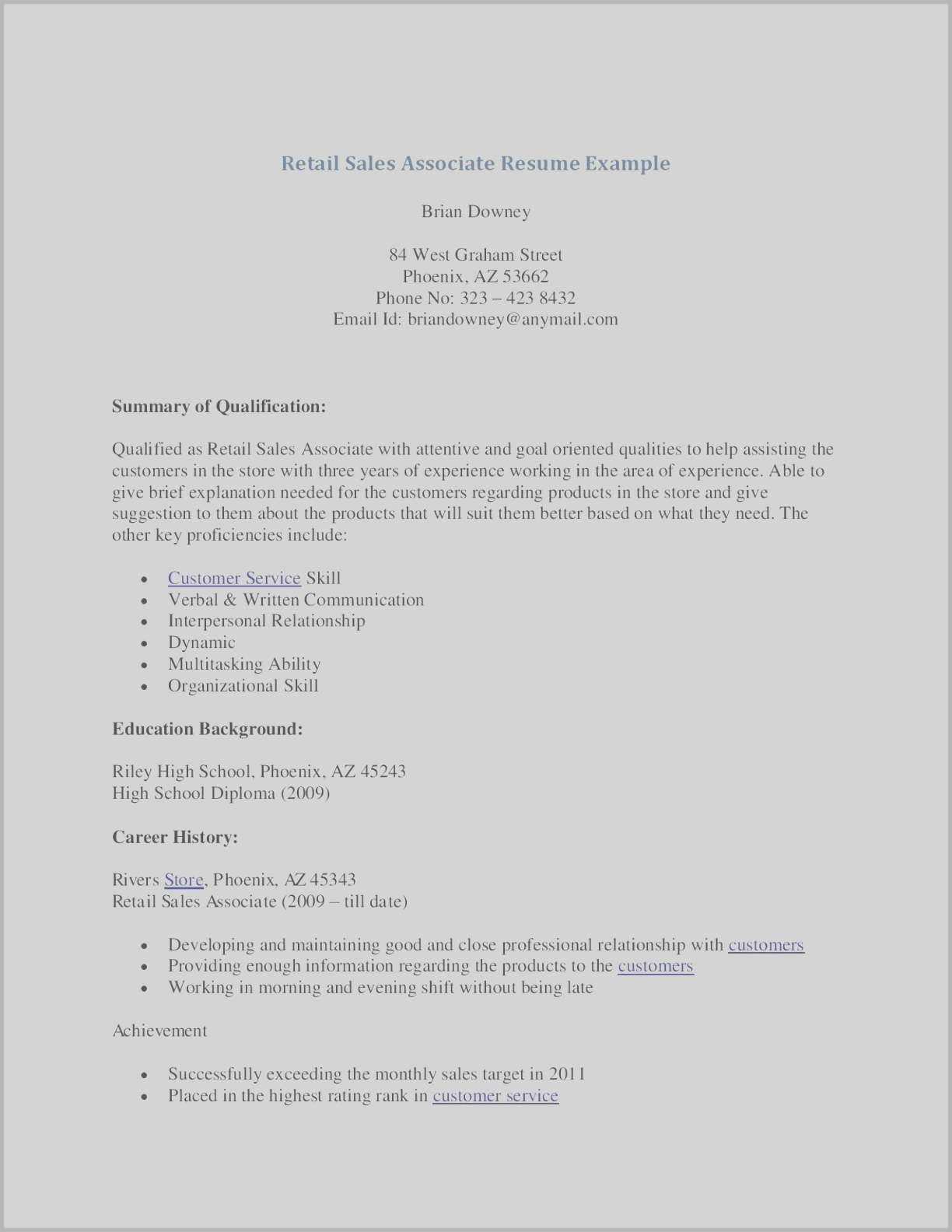 retail sales associate resume template example-Sales associate Resume Examples Luxury New Example Customer Service Resume Best Resume Examples 0d Skills 18-s