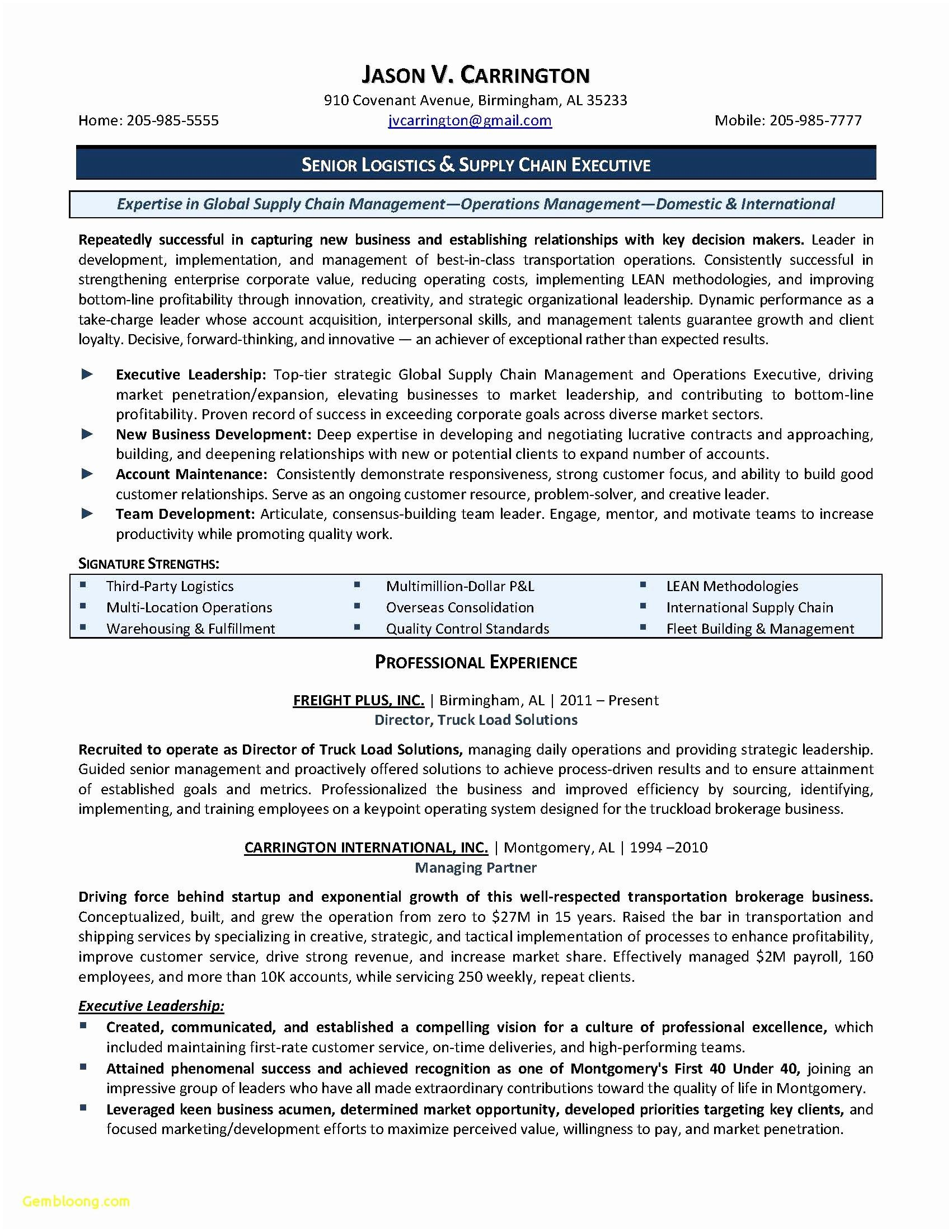 supply chain management resume template example-Resume format for Supply Chain Executive Unique New Resume Cv Executive Sample Luxury Resume Examples 0d 5-o