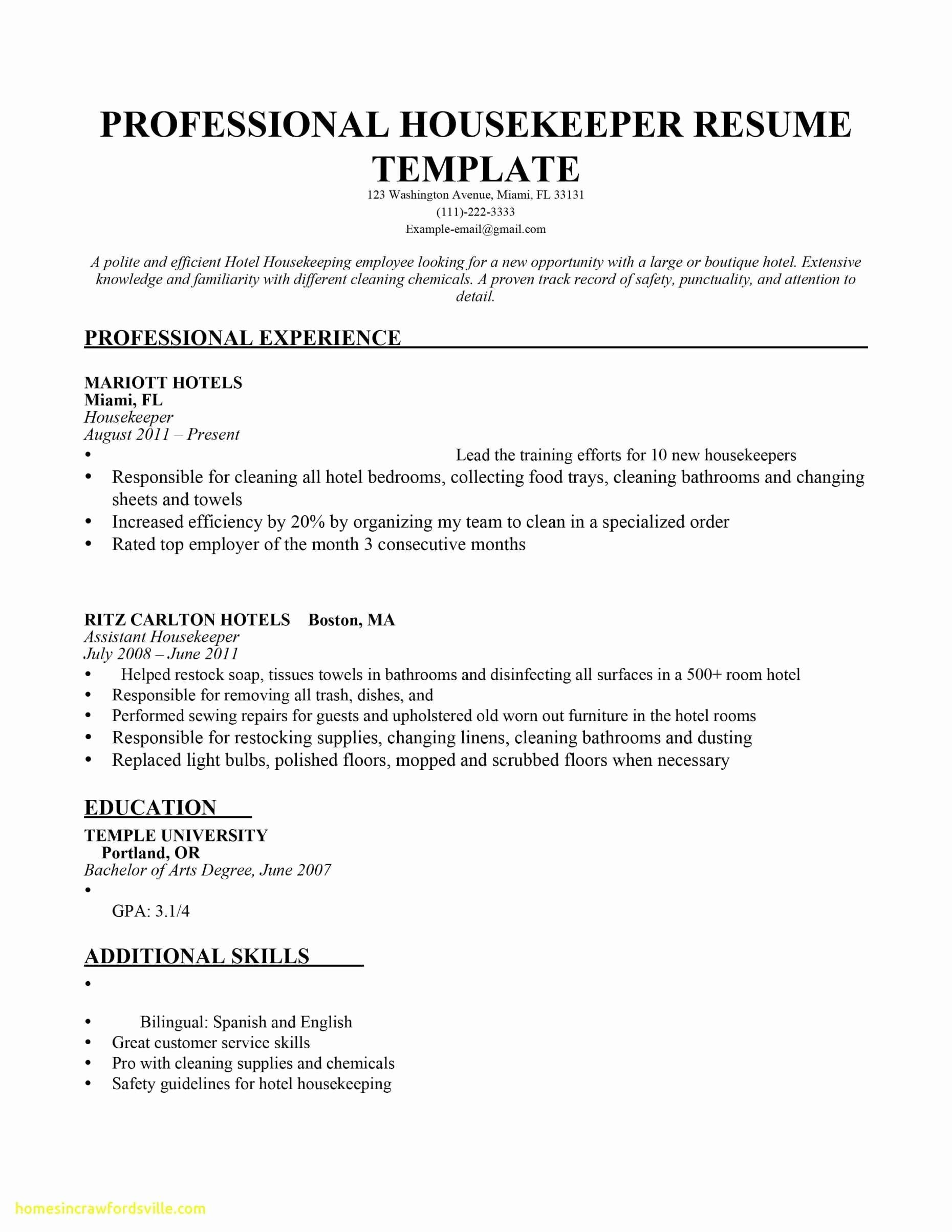 temple university resume template example-Temple Resume format Awesome Housekeeping Resume Templates Myacereporter Myacereporter 2-t