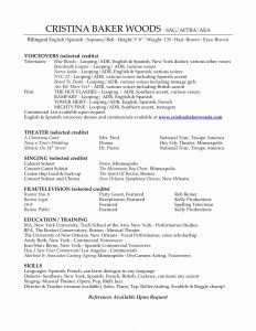Theatrical Resume Template - 15 Inspirational Musical theatre Resume