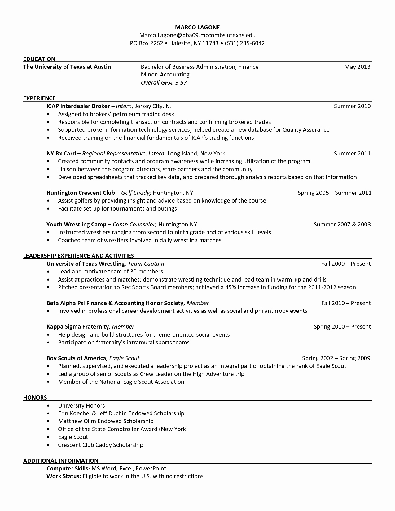 utexas mccombs resume template Collection-Mc bs Resume Template Beautiful Mc Bs Resume format Position Resume Ideas 7-i
