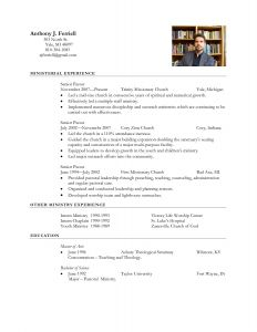 Youth Minister Resume Template - Download Fresh Pastoral Resume