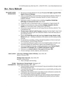 Youth Ministry Resume Template - Youth Pastor Resume Awesome Pastor Resume Template Free Unique